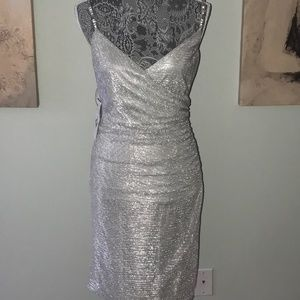 Silver Ruched Cocktail Dress